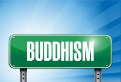 buddhism religious road sign banner illustration - stock illustration