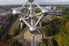 Flying shot of Atomium, scientific monument of Belgium Brussels, click for HD Stock Footage