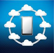 Smartphone cloud computing network diagram Stock Illustration