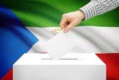 voting concept - ballot box with national flag on background - equatorial gui - stock illustration