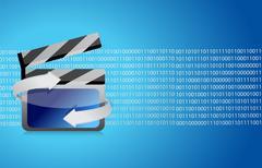 film clap board cinema binary - stock illustration