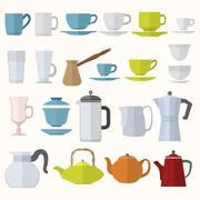 flat style dinnerware cups mugs and pots set - stock illustration