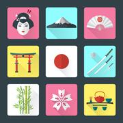 flat japan icons set - stock illustration