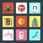 Flat design japanese icons set Piirros
