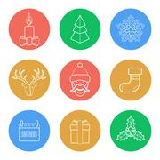 Various christmas color back outline icons set Stock Illustration