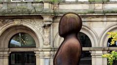 Iron: Man head in Victoria Square, Birmingham Stock Footage