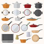 flat various tableware set - stock illustration