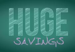 huge savings written on a chalkboard. illustration design - stock illustration