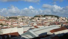 Slow Pan over Lisbon on a Clear Sunny Day Stock Footage