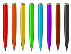 Set of multicoloured felt-tip pens Stock Illustration