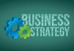 Stock Illustration of business strategy handwritten with white chalk