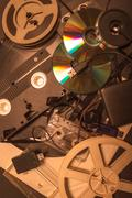 Stock Photo of collection of retro audio and video tapes
