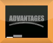 Word advantages written on a blackboard Stock Illustration