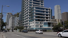 Residential Building Business Skyscraper Los Angeles LA Downtown Cars Street USA - stock footage