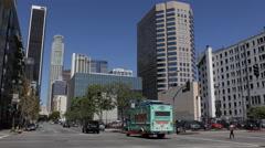 Establishing Shot Los Angeles Downtown LA Towers South Hope Street Cars Traffic - stock footage
