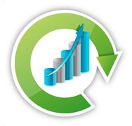 cycle and graph illustration - stock illustration