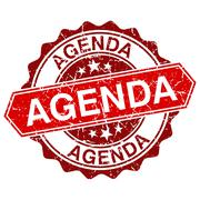 Agenda red vintage stamp isolated on white background Stock Illustration