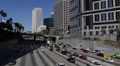 Busy Commuters Highway Cars Traffic Business Buildings Office Towers Los Angeles Footage