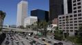 Car Passing Harbor US Freeway Los Angeles LA Downtown Skyline Financial District Footage