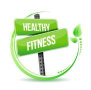 healthy and fitness street sign illustration design over white - stock illustration