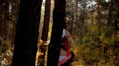Stock video footage beautiful girl in the forest - stock footage