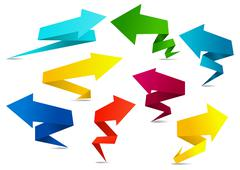 set of colorful folded squiggly arrows - stock illustration