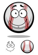 Smiling cartoon cricket ball Stock Illustration