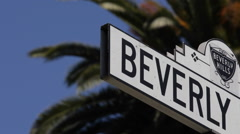Beverly Hills Drive Close Up Street Sign Los Angeles Palm Tree Establishing Shot - stock footage