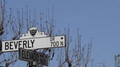 Beverly Hills Drive Crossroad Elevado Avenue Street Road Sign Establishing Shot Stock Footage