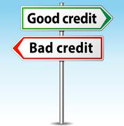 Good and bad credit direction concept Stock Illustration