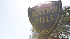 Panoramic View Establishing Shot Pan Right Iconic Beverly Hills Street Sign Icon Stock Footage