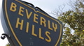 Closeup Details Beverly Hills Street Sign Famous Landmark Roadsign Signboard LA Footage