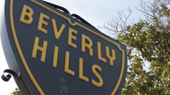 Closeup Details Beverly Hills Street Sign Famous Landmark Roadsign Signboard LA Stock Footage