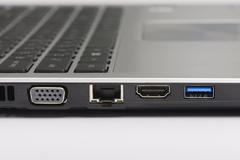 usb 3.0, lan and graphic ports of laptop computer - stock photo
