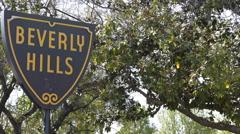 Beverly Hills Crossroad Street Board Road Sign Establishing Shot Los Angeles LA - stock footage