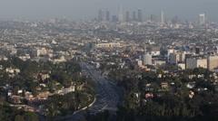 Establishing Shot Los Angeles Skyline Hollywood Freeway Busy Highway Rush Hour Stock Footage