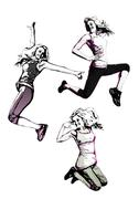 aerobics trio - stock illustration