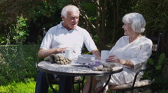 Cheerful senior couple relaxing in the garden at home Stock Footage