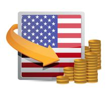 Stock Illustration of us currency and flag