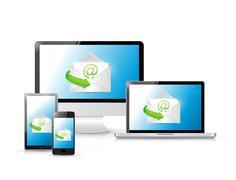 email set of electronics - stock illustration
