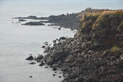 Stock Photo of landhead called seobjicoji, famous place in jeju island.