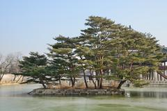 artificial island of gyeonghoeru pond in gyeongbokgung - stock photo