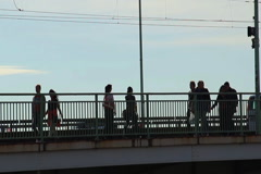 People lifestyle, bridge walking riding bicycle week end holiday, click for HD Stock Footage