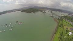 Beautiful bridge Puente de las Americas Panama Stock Footage