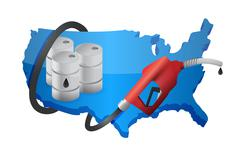 Us map with a gas pump nozzle Piirros
