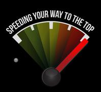 speeding your way to the top concept speedometer - stock illustration