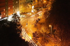 City street night timelapse, long exposure traffic lights, car, click for HD - stock footage