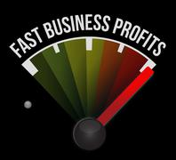 Stock Illustration of fast business profits speedometer