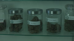 DISPLAY CASE OF MEDICAL MARIJUANA / Version 1 Stock Footage