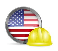 Stock Illustration of american flag and construction helmet